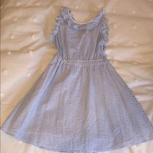 Girls seersucker dress; size S; fits size 7